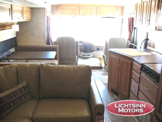 Winnebago Vista class A motorhome interior - showing living area and kitchen