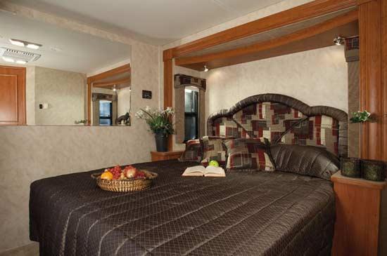 2011 Monaco Riptide class-A motorhome bedroom