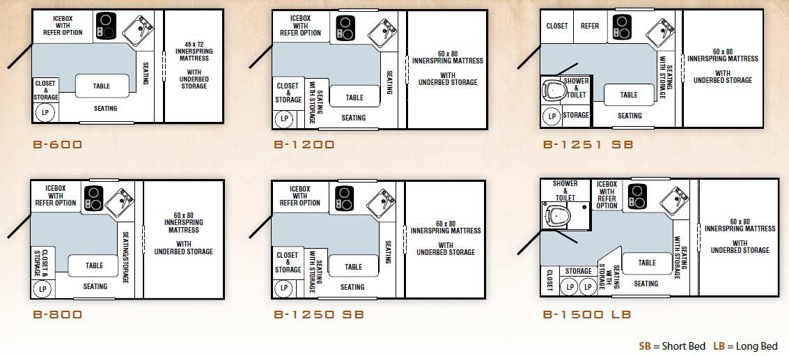 2011 Palomino Bronco Folding Truck Camper Floorplans