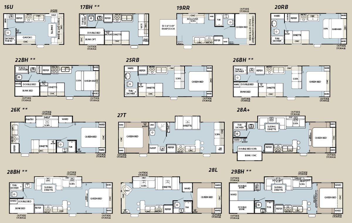 Forest River Cherokee Grey Wolf floorplans