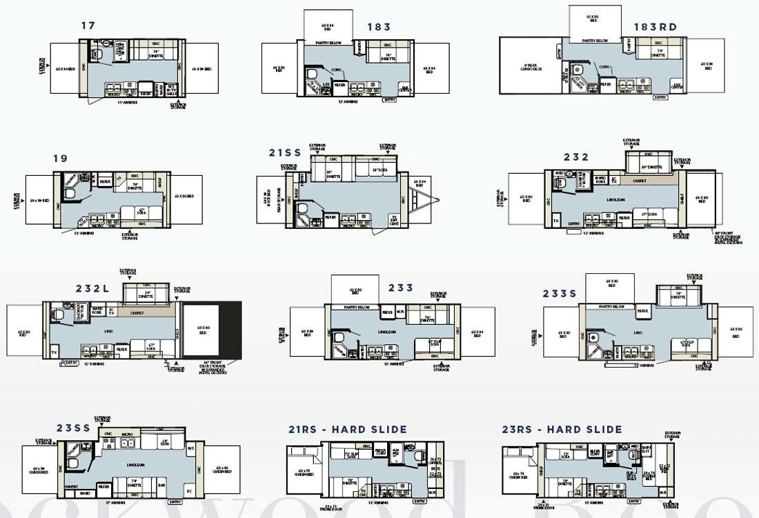 Forest river rockwood roo expandable travel trailer floorplans for Expandable floor plans