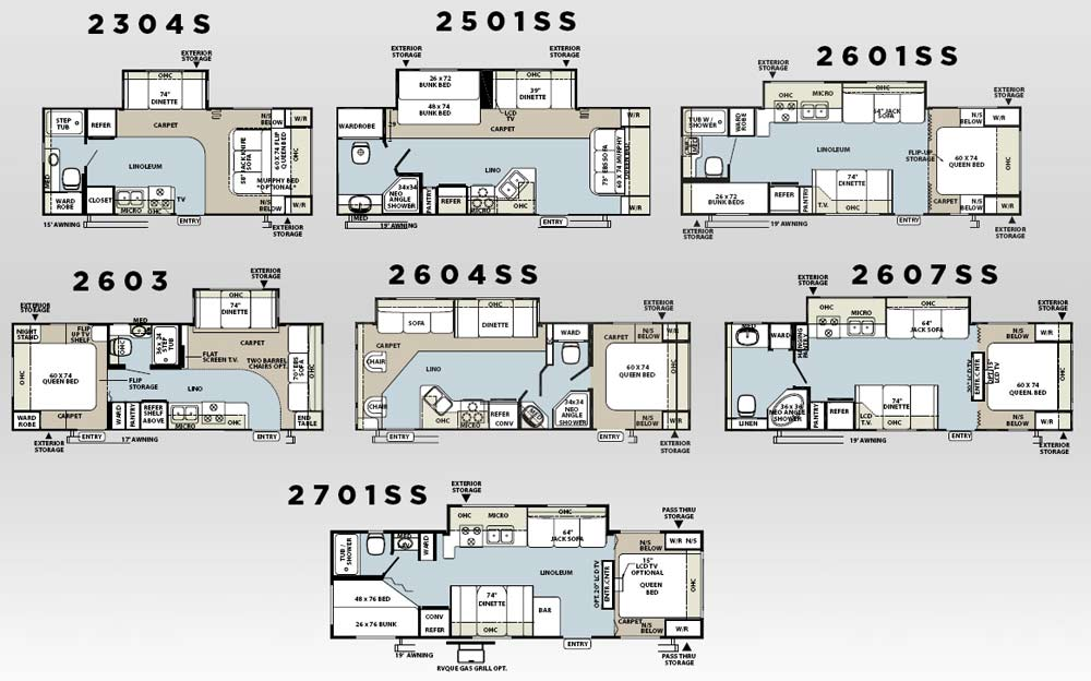 Forest River Rockwood Travel Trailer Floorplans