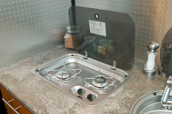 Galileo travel trailer stove top open