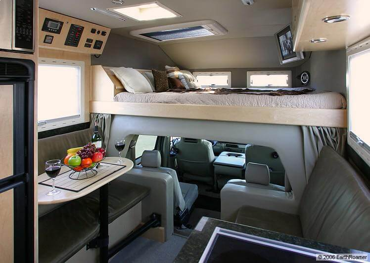 Interior of XV loft bed over cab