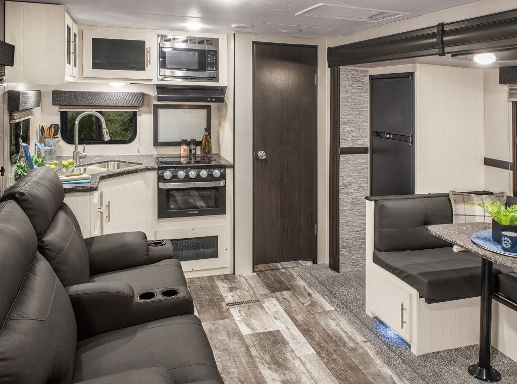 Kitchen inside 2019 Stratus Travel Trailer