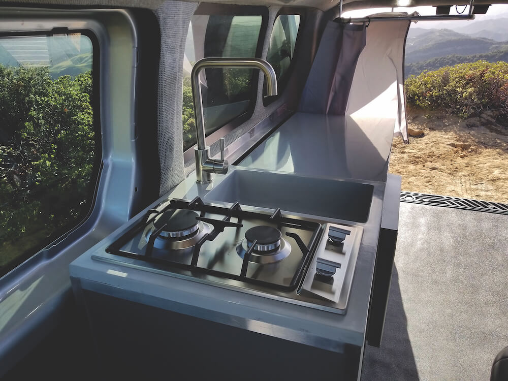Camper Van with sink, 2 burner stove, refridgerator