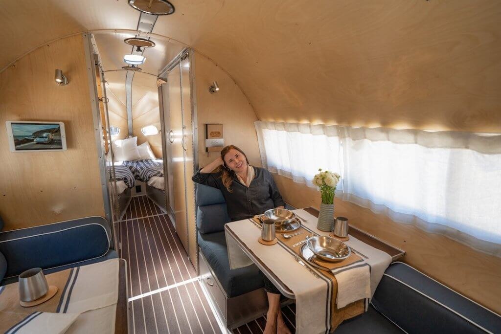 Dinette Seating in Wave Bespoke Travel Trailer